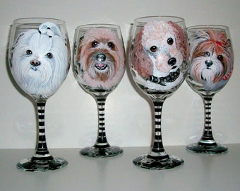 Custom Pet Portrait Hand Painted Wine Glasses of Your Dog Cat Horse Any Pet Set of  4 - 20 oz. Wine Glasses Dog Lover Birthday Gift