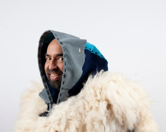 Large leather hood real fur white blue larp armor warcraft costume cosplay elemental air mage priest shaman druid hunter game of thrones sca