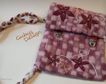 Felt shoulder bag in A4 size, shoulder bag, Naßfilzen, snap lock, embroidery