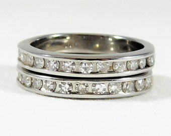 14k White Gold and Diamond Wedding/Anniversary Band Set