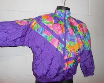 Vintage Purple Colorblock Floral Windbreaker Jacket Medium