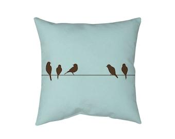 Birds Throw Pillow, Decorative Pillows, Designer Pillow, Throw Pillow, Travel Pillow, Birds on a Wire Pillow Cushion Bird Pillow