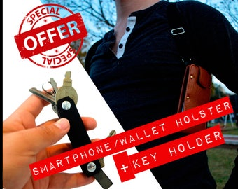 Combo Phone & Wallet Holster + leather Key Holder