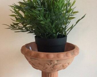 Vintage terracotta bird bath. Terracotta bird feeder. Terracotta succulent planter. Small garden planter. Garden decor.