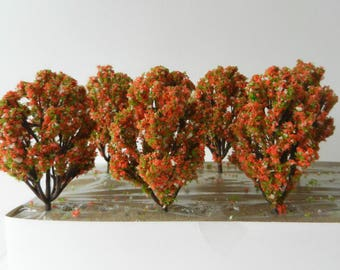 6 x Terracotta Blush Flowering Model TREES 8 cm ~ Scenery for H0 / 00 Scale, MODEL TRAIN Accessory, Brand New
