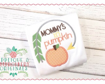 Applique and Embroidery Originals Digital Design - 050 Mommy's Lil Pumpkin Applique Design for Thanksgiving and Fall, instant download