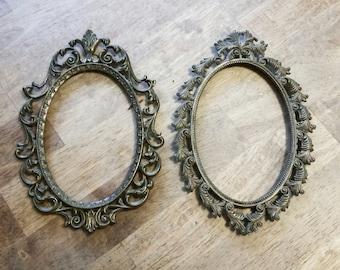 Two Ornate Oval Italian Brass Frames