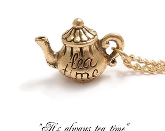 Alice in wonderland tea pot necklace Darling little teapot Mad Hatter's teaparty charm necklace