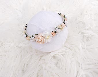 Ivory & Peach Floral Halo