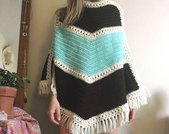 1970s blue and brown knit poncho • Vintage • 70's • Boho • Hippie • Retro • Knit • Women's Vintage • Sweater • Fringe • Cute •