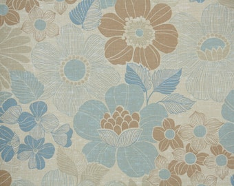 Retro Wallpaper by the Yard 70s Vintage Wallpaper - 1970s Blue and Brown Floral