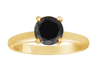 14k Yellow Gold Fancy Black Diamond Solitaire Engagement Ring 1.05 Carat Certified handmade