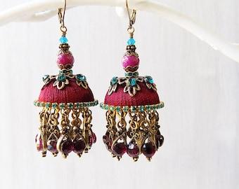 Burgundy earrings, Burgundy tassels, Burgundy blue, Jhumka earrings, Jhumka tassels, tassel earrings, unique earrings, bellydance earrings
