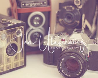Vintage Camera Collection Photography Print, photographer, still life