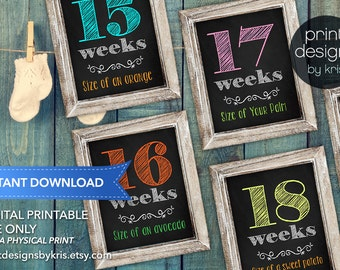 Weekly Pregnancy Sign - Week by Week Belly Sign - Week by Week Pregnancy Sign - Instant Download - Photo Prop - Pregnancy Photo Prop
