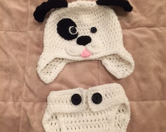 Hand Crochet Baby Puppy Dog Hat & Diaper Cover - Brand New