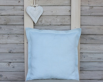 Custom size decorative linen pillow shams with flange / Throw pillow  / Home decor / pale blue