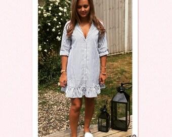 Women's stripe shirt dress - M/L