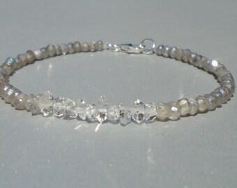 Herkimer Diamond Bracelet, Labradorite Bracelet, Ombre Bracelet, Dainty Bracelet, Blue Bracelet, Gemstone Bracelet, Silver Bracelet