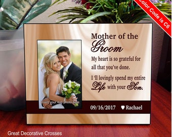 Mother of the Groom Picture frame Gift, Wedding Thank you Gift for Grooms Mom, Custom Gift to Grooms Mother from the Bride, FWA001