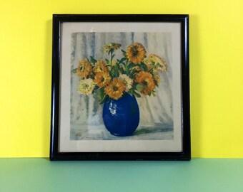 Vintage Print - Floral Arrangement - Vintage Framed Print - Mid Century - Vintage Home - Vintage Homeware