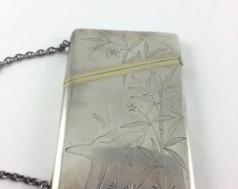 Rose Crane Bamboo Calling Card Case