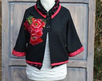 Fantasy womens black jacket L XL Upcycled Clothing bohemian romantic cardigan