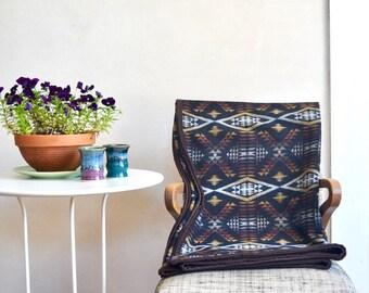 Wool Blanket Native American Inspired Design Black Brown Gold White Lightweight Throw