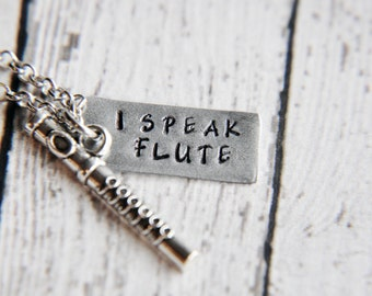 Flute Necklace - Flute Gift - Music Necklace - Flute Jewelry - Gift for Her - Music Teacher Gift - Gift for Friend - Music Gift
