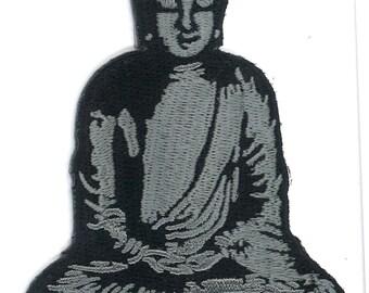 Zen Buddha Iron-On Patch Yoga Yogi Meditation Spiritual Japanese Garden Stone Statue Mysticism Mystic Seer Fortune Teller Palm Reader Tarrot