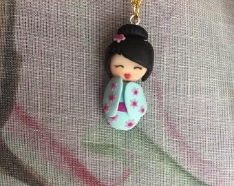 kawaii kokeshi doll necklace