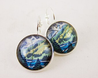 Escape to the Mountains Leverback Earrings, 1993 Switzerland Postage Stamp, Nickel Free Silver, Trees, Camping, Adventure, Blue & Green