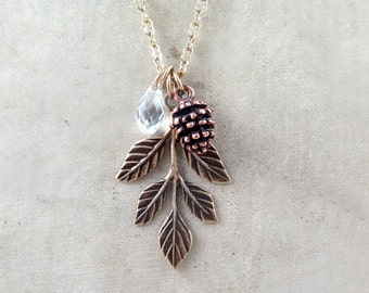 Leaf Necklace, Pinecone Necklace, Pine Cone Necklace, Pinecone Pendant, Woodland Necklace, Bridesmaid Jewelry