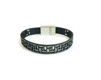 Leather Bracelet, Laser Cut Leather Bracelet, Gray Leather, Magnetic Closure, Gift, Genuine Leather, Leather Jewelry, Bracelets