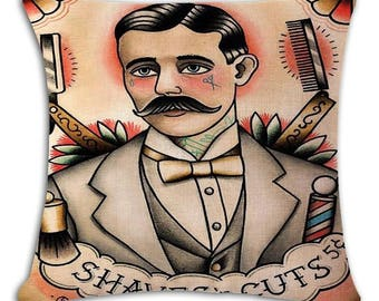 Shave & Cut barbers pillow cover