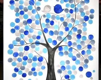 Custom Wedding Guest Book watercolor painting - Custom calligraphy - Wedding guestbook Event Tree love birds abstract tree of life