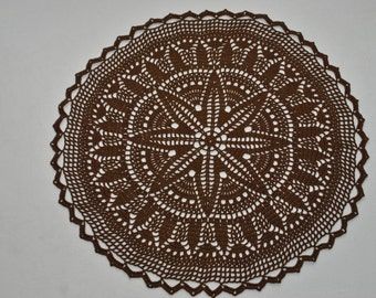 Crochet doily / Lace / Tablecloth / Brown (color Nr.5)/ 16.1 inches (41 cm), D-13