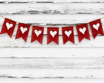 Valentines Day Decor Heart Banner Bunting Garland Happy Burlap Rustic
