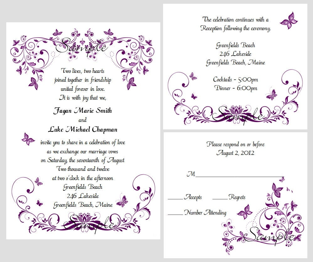 100 Personalized Custom Purple Butterfly Swirl Bridal Wedding