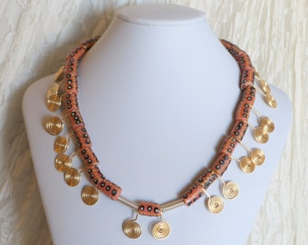 African Stone Beads and Coiled Copper wire Collier. 18 Inches OOAK