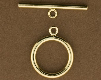 1 set Gold Filled 15mm Toggle Clasp for Jewelry.  15mm Ring. 24mm Bar. 14kt Gold Filled. GFTG38