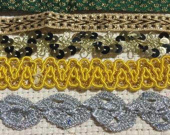 Vintage Sari Trims #7  Embellishments, Sewing, Page Edging, Junk Journals, Scrapbooks, Arts and Crafts