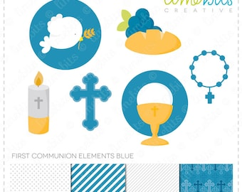 First Communion Elements Clip Art & Digital Paper