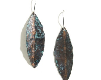 Dark Leaf Earrings - Oxidized Copper Leaf Earrings - Eucalyptus Leaf Earrings -Dark Copper Earrings - Patina Copper -Blue Copper Dangle Leaf
