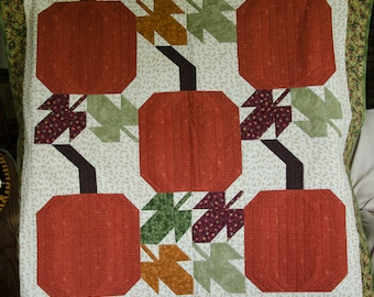 Autumn pumpkin and leaves wallhanging - free shipping