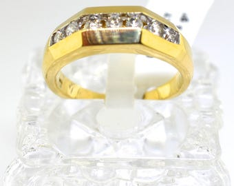 14k Gold And Diamond Channel Set Wedding Band. Size 10