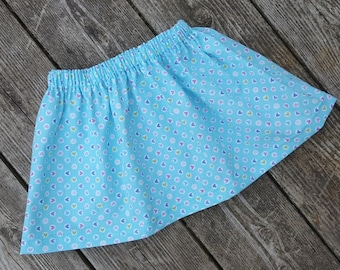 5 Buck Skirt SALE - Girl's Toddlers Aqua with Colorful Cute Little Hearts  - Ready To Ship