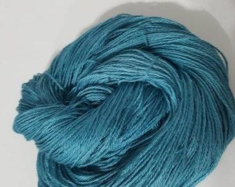 Alpaca Yarn, Hand Dyed Yarn, Suri Alpaca Fingering Yarn, USA Grown and Made, 300yd, Teal 518