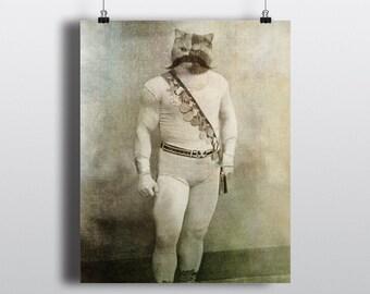 Strongman, Carnival Wall Print, Carnival Photo Print, Circus Theme Decor, Vintage Circus, Nursery Print, Circus Art, Creepy Cute, Weird