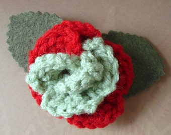 Crocheted Rose Barrette - Red and Light Olive Green (SWG-HB-ZZ02)